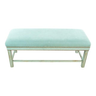 Modern Green Upholstered Bench For Sale