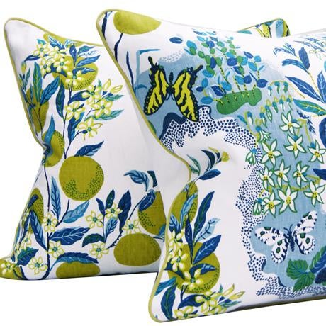 """Citrus Garden"" Schumacher Josef Frank Blue & White Pillow Cover - Image 3 of 6"