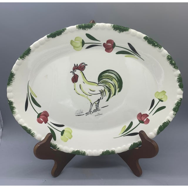 White 1950s Blue Ridge Rooster Platter From Southern Potteries For Sale - Image 8 of 8