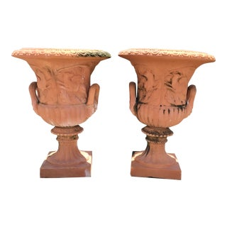 French Terra Cotta Classical Urns- a Pair For Sale
