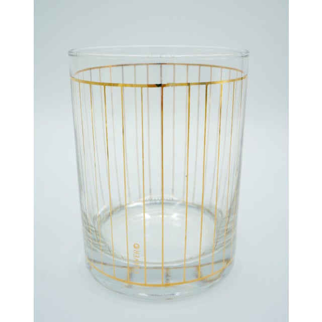 Culver Ltd. Golden Pinstriped Low Ball Cocktail Glasses (6) & Champagne Bucket With Bar Tools For Sale - Image 4 of 13