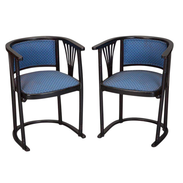 Pair of Josef Hoffmann Armchairs with Blue Upholstery - Image 1 of 5