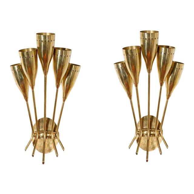 5 Arm Sconces Attributed to Stilnovo - A Pair For Sale