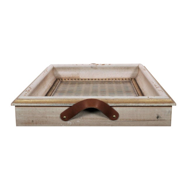 Mid 20th Century Vintage Italian Serving Tray With Leather Handles & Woven Silk Under Glass For Sale - Image 5 of 7