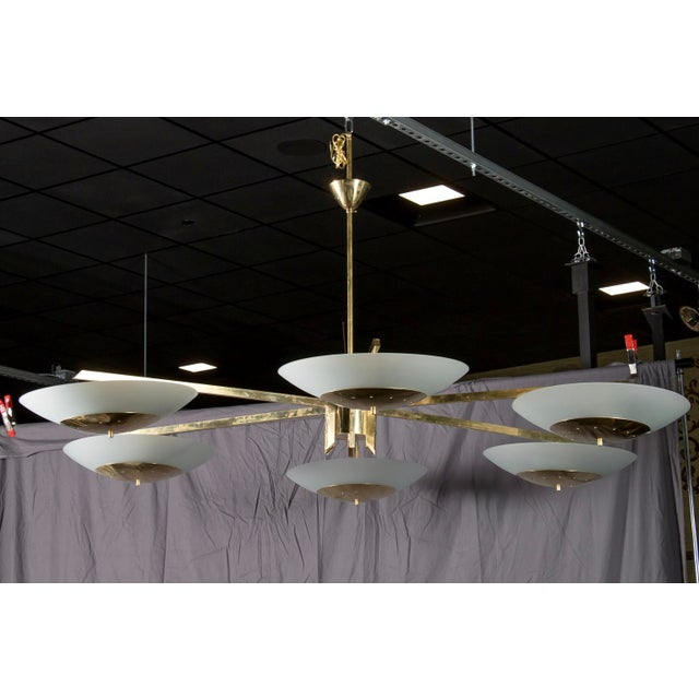 Monumental Italian Mid-Century Brass and White Glass Chandelier - Image 6 of 7