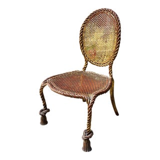Gilt Metal Ballon Back Rope Chair For Sale