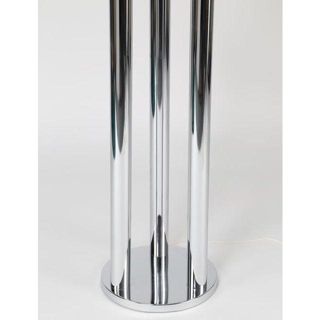 Silver 1970's Vintage ITALIAN CHROME THREE-GLOBE FLOOR LAMP For Sale - Image 8 of 8