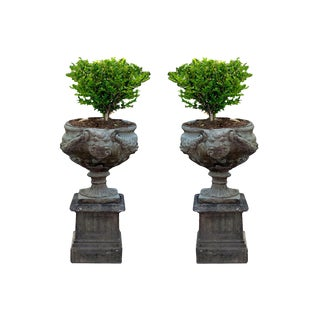 Pair of Milled Stone Garden Urns With Pedestals For Sale