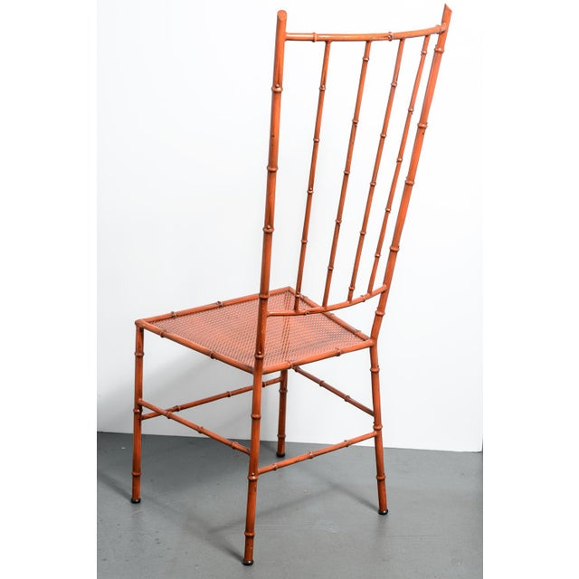 1970s C.1970 Italian Faux Bamboo High Back Chinese Red Side Chair For Sale - Image 5 of 12