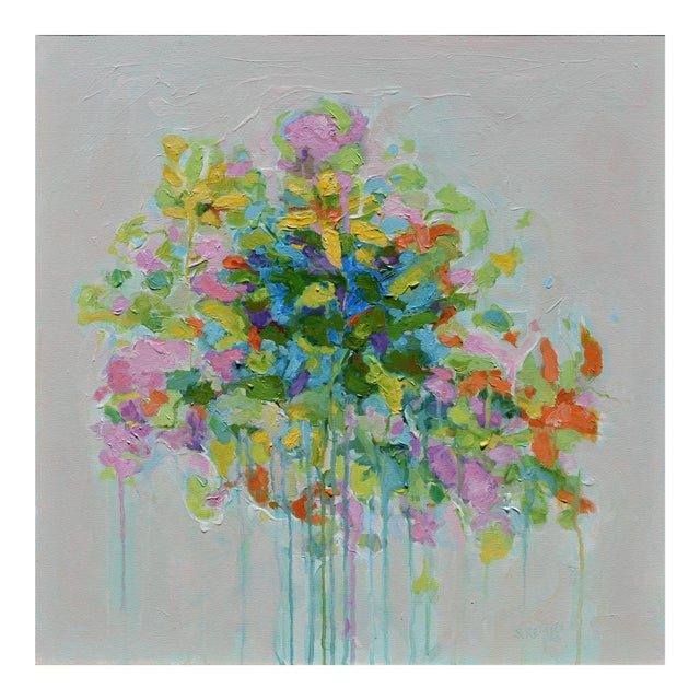 """Abstract """"Bouquet on Light Gray Ground"""" Painting by Stephen Remick For Sale"""