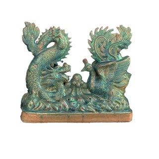 """Chinoiserie Celadon Dragon & Phoenix Roof Tile Sculpture 16.5"""" W Preview"""