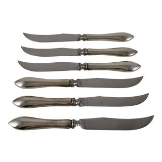 English Sterling Silver Handled Cheese & Fruit Knives - Set of 6 For Sale
