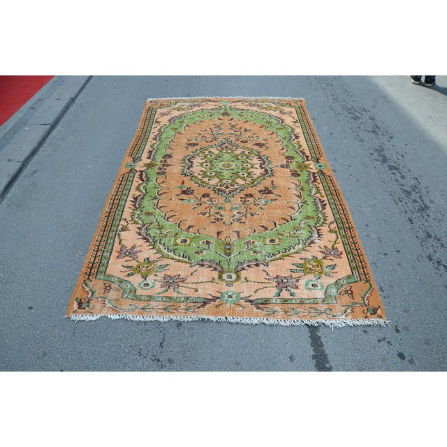 Textile Modern Turkish Oushak Handwoven Green and Orange Wool Floral Rug For Sale - Image 7 of 7