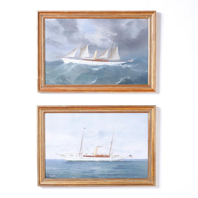 Paint Gouache Painting on Paper of a Yacht For Sale - Image 7 of 8