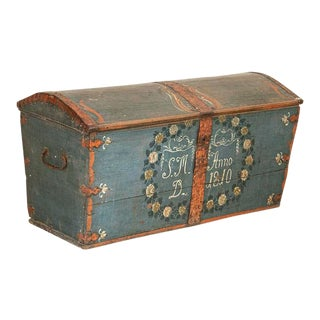 Antique Original Blue Hand Painted Dome Top Trunk, Sweden Dated 1810 For Sale