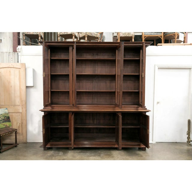 Mid 19th Century 19th Century French Napoleon III Period Walnut Bibliotheque or Bookcase For Sale - Image 5 of 12