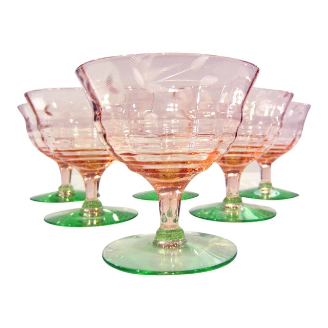 Pink & Green Etched Glass Sherbets - Set of 6 - Image 1 of 3