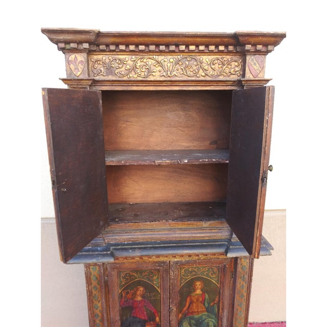 Late 19th Century 19th Century Italian Hand Painted Polychromed Giltwood Claw Footed 2 Piece Cupboard For Sale - Image 5 of 13