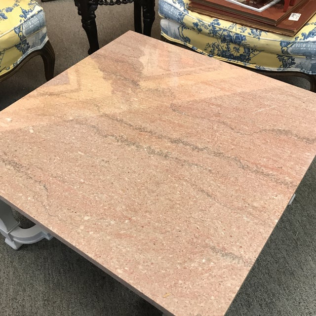 French Granite Top Coffee Table With Gray Painted Neo Classic Base. For Sale - Image 3 of 4