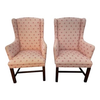 Late 20th Century Upholstered Accent Chairs- a Pair For Sale