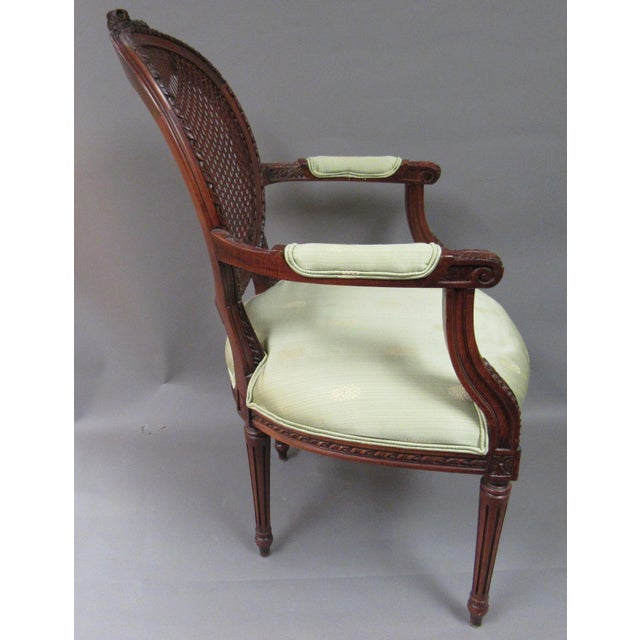 French Vintage Fairfield Louis XVI Style French Upholstered Cane Back Bergere Chair For Sale - Image 3 of 11