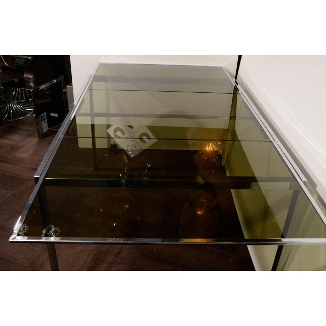 Mid-Century Chrome and Grey Glass Extension Dining Table by DIA For Sale In New York - Image 6 of 10