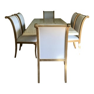 Italian Travertine Marble Dining Table Set - 7 Pieces For Sale
