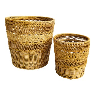 Pair of Vintage Matching Woven Baskets For Sale