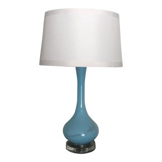 Large Mid Century Modern Turquoise Blue Glass Table Lamp