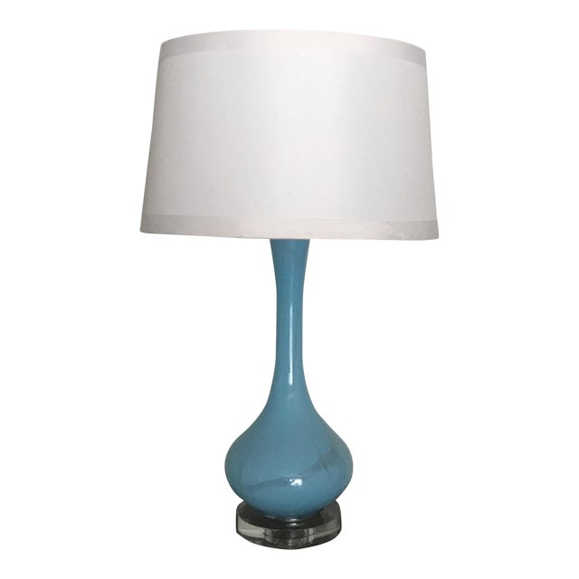 Large Mid Century Modern Turquoise Blue Glass Table Lamp Chairish