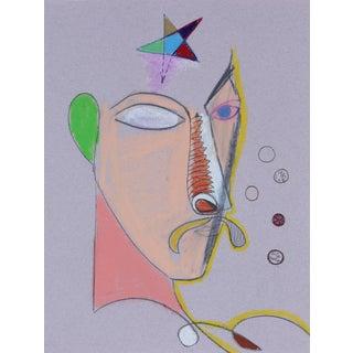 Michael DI Cosola 1970s Surrealist Portrait in Pastel 1972 For Sale