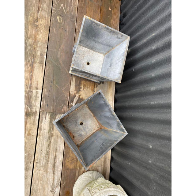 Pair of square small garden planter with cast iron handles and stud decoration