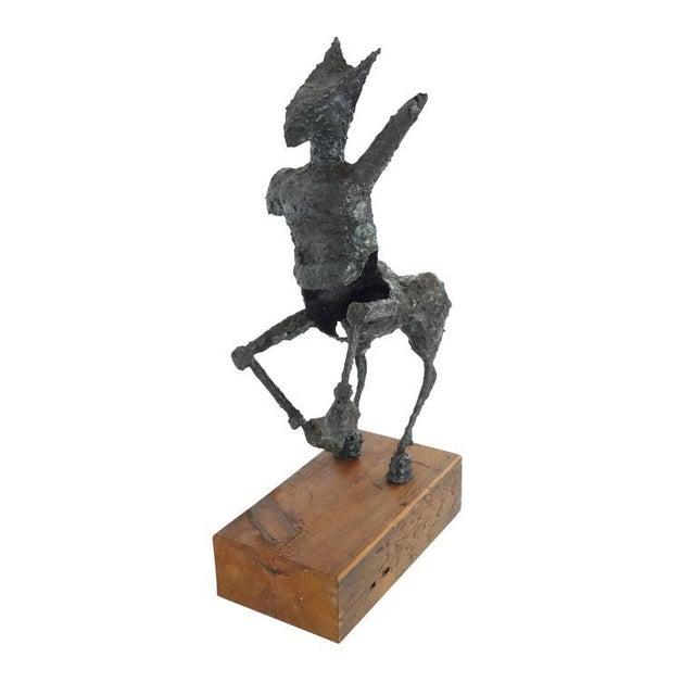 Steel Centaur Sculpture on Wood Base For Sale - Image 4 of 10