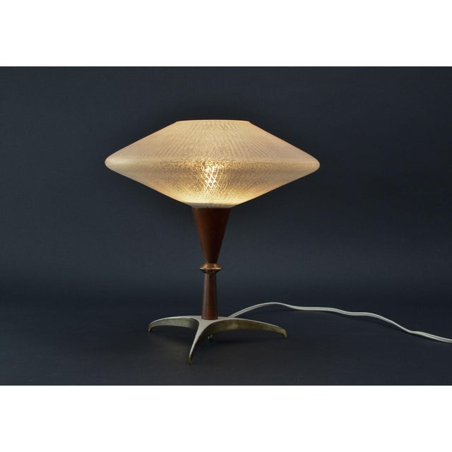 Mid-Century Modern Mid-Century Design Decorative Atomic Tripod Teak Brass Glass Table Lamp by Phillips, 1950s For Sale - Image 3 of 8