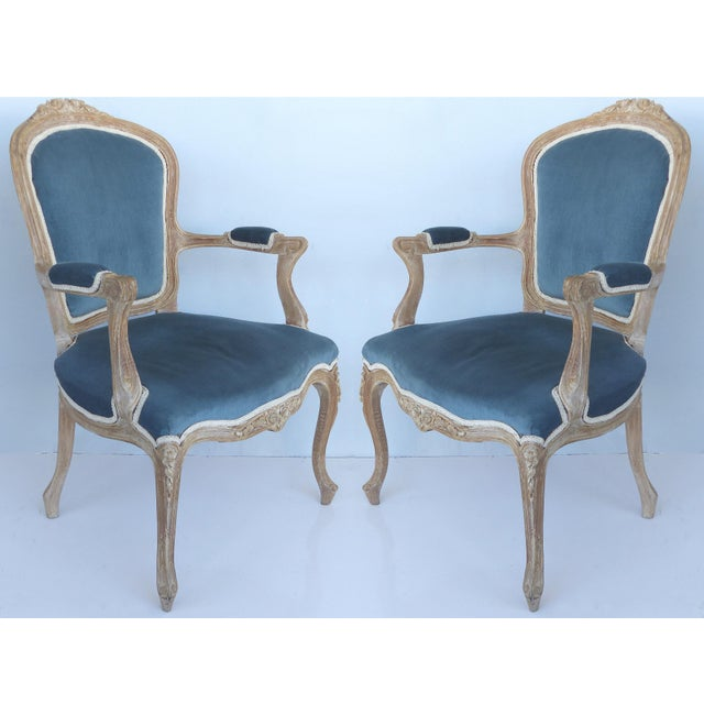 French Limed Louis XV Style Fauteuil Chairs With Velvet Mohair Seats With Trim For Sale - Image 13 of 13