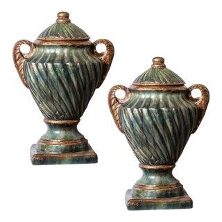 Vintage PaintedTerracotta Urns-A Pair For Sale