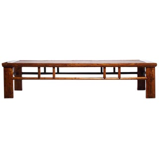 Antique Elm and Wicker Long Coffee Table from Southern China, Late 1800s For Sale