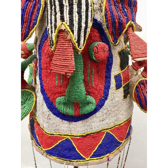 1950s Yoruba Nigeria African Royal Beaded Headdress Crown on Stand For Sale - Image 5 of 13
