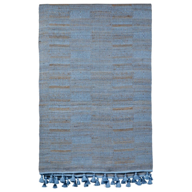 2010s Indian Handwoven Bedcover Hand Blue For Sale - Image 5 of 5