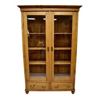 Pine Two Door Glazed Cupboard or Vitrine For Sale