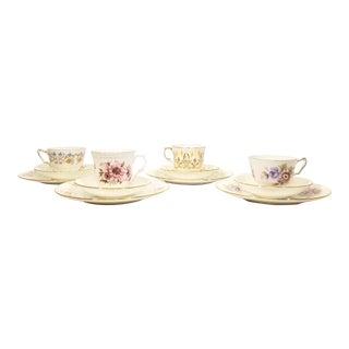 Late 20th Century Mismatched Staffordshire Tea Set, 12pcs. - Set of 4 For Sale