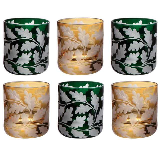 The Oak Leaves motif, features richly detailed, handengraved oak leaves in a pattern that covers the entire glass. This...