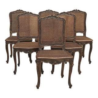 Set of 6 Antique French Regence Walnut Caned Dining Chairs For Sale
