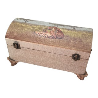 Tiger Art Wooden Keepsake Chest Box For Sale