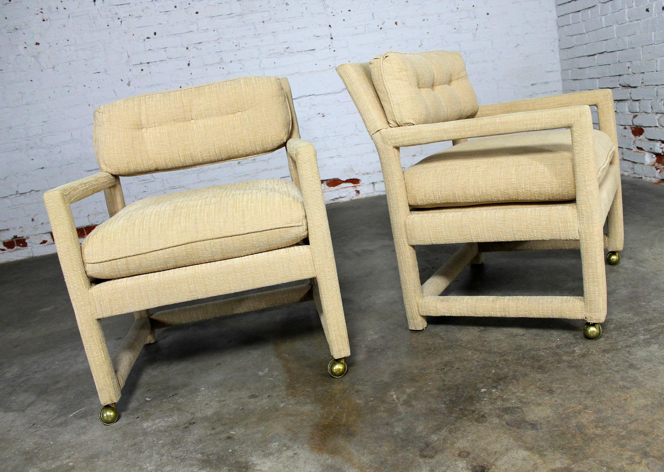 Parsons Style Rolling Club Arm Chairs Attributed To Milo Baughman MCM  Vintage   Image 3 Of