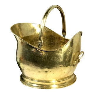 Vintage Solid Brass Handcrafted Planter Firewood Ash Bucket For Sale