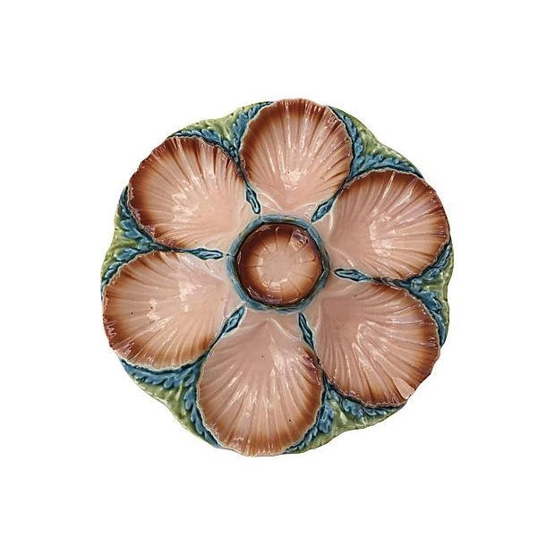 Pink Majolica Oyster Plate - Image 3 of 5