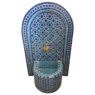 Modern Moroccan Blue Mosaic Tile Fountain For Sale