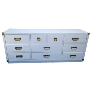 White Lacquered Campaign Style Dresser by Drexel