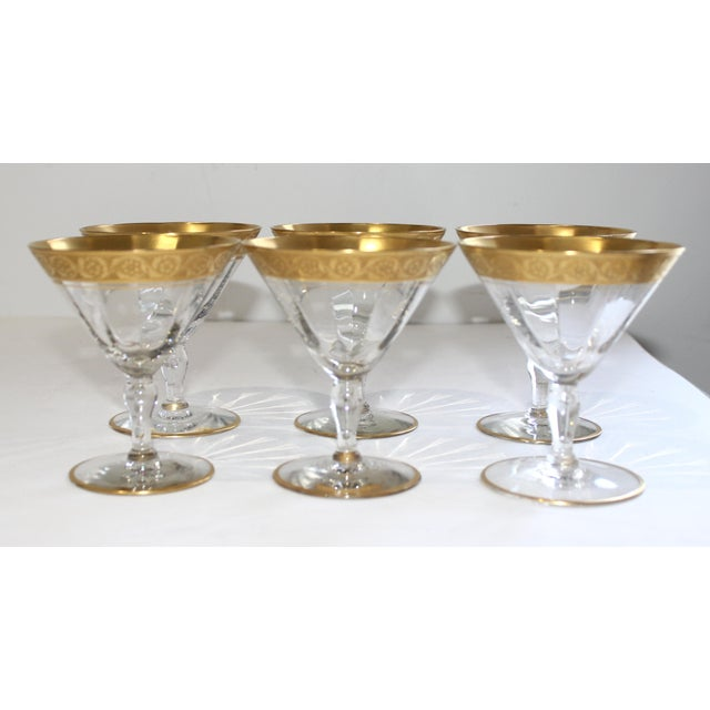 Vintage Champagne Coupes Sherbets Aperitif With Gold Band of leaves and flowers and plain Base Rim - Set of 6 from a Palm...